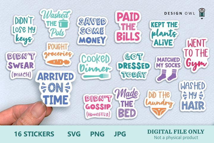 Adulting Reward Stickers - Funny Printable Stickers