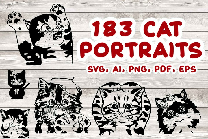 183 Cat Portraits Illustrataions SVG, PNG, eps, ai, pdf