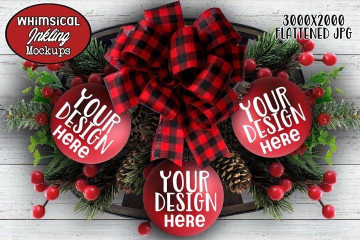 Pretty Red Christmas Ornament Trio Mockup