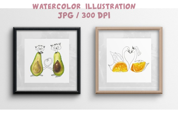 Valentines day Watercolor Love quotes Heart Avocado Orange