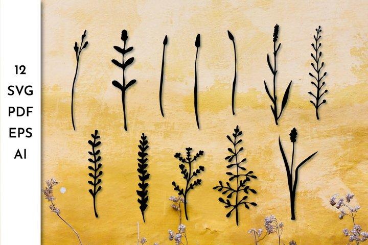 Flowers SVG. Wildflower. Greenery. Herbs. Grass.