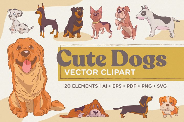 Cute Dogs Vector Clipart Pack