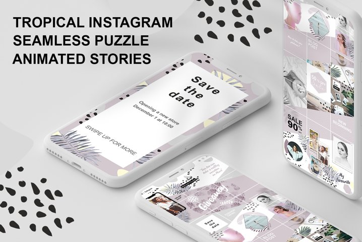 Tropical instagram seamless puzzle and animated stories