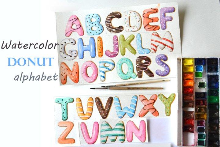 Watercolor donut alphabet.