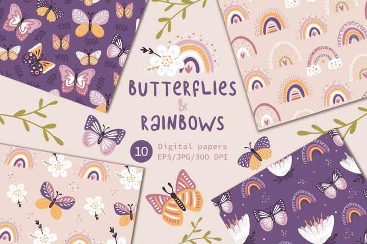 Butterflies & Rainbows, Floral seamless patterns.