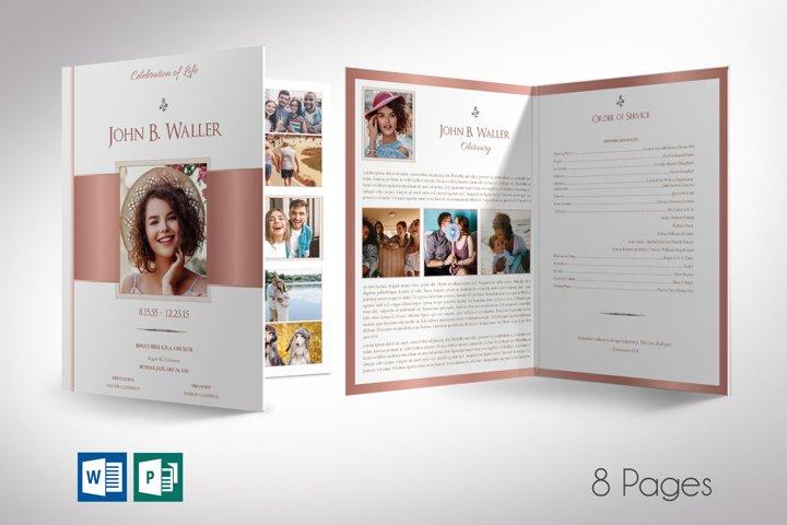 White Rose Gold Funeral Program Tabloid Word Publisher