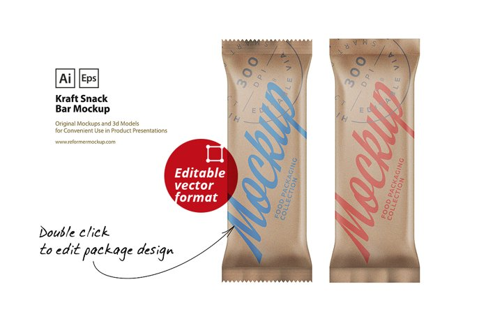 Kraft Matte Snack Bar Mockup