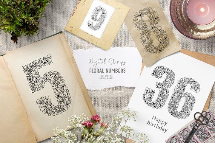 Floral number clipart | Floral digital stamps for birthday