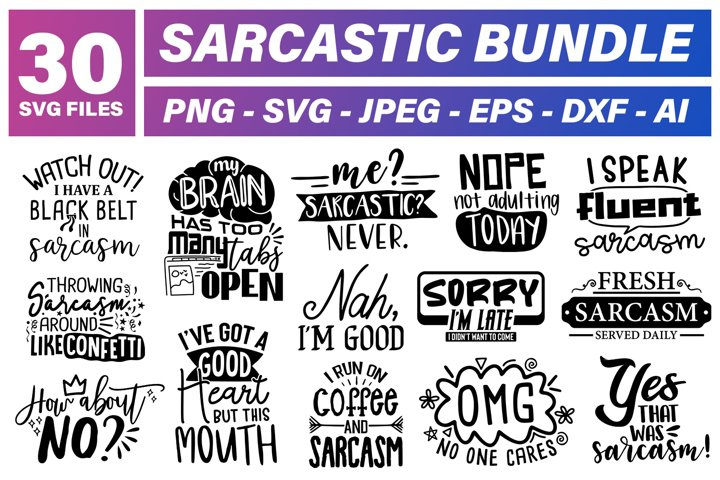 Sarcastic SVG Files Bundle - 30 Different Cut files