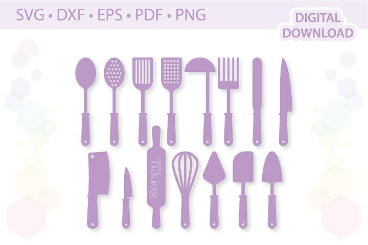 Kitchen Utensils cut files SVG DXF EPS PDF PNG