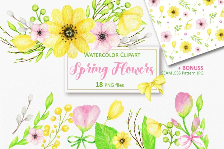 Watercolor spring flowers clipart, Yellow Pink flower PNG