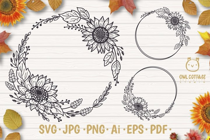 Sunflower Fall Wreath svg, floral monograms mini bundle
