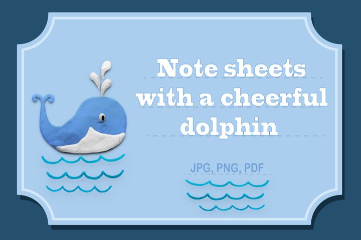 Note sheets with a cheerful dolphin.