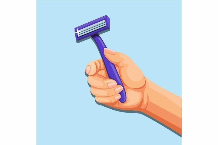 Hand holding razor blade. shaver symbol concept in cartoon