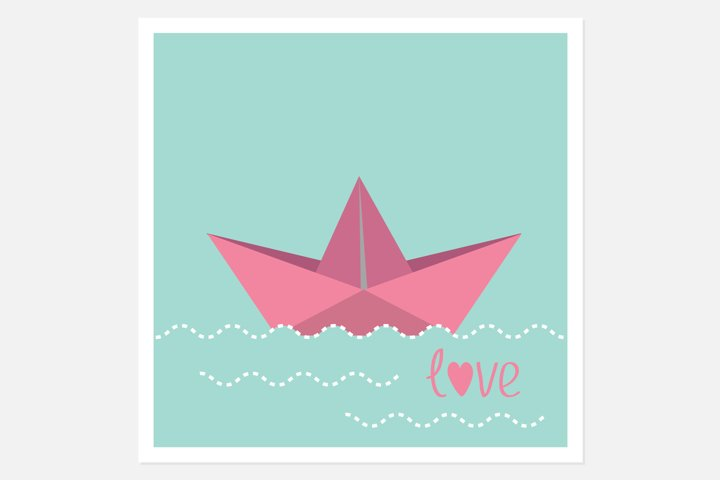 Origami paper boat and waves