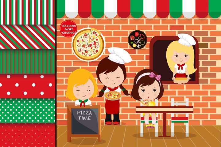 Pizza party illustrations, Pizza party graphics