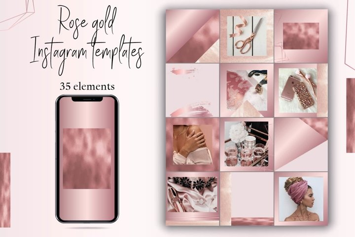 Rose gold Instagram template.Canva