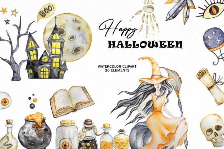 Watercolor halloween clipart