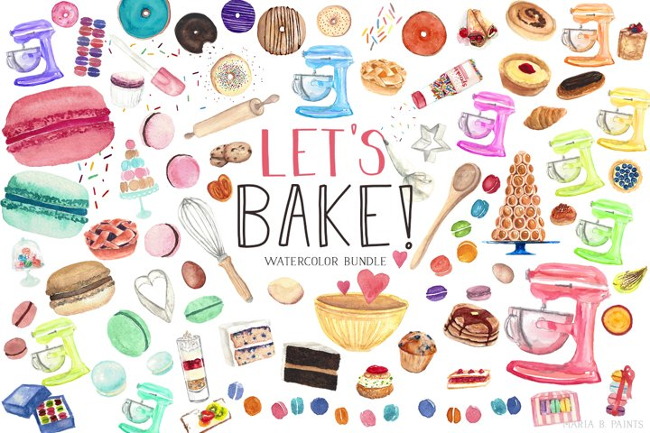 Baking Bundle Watercolor Clipart, Sweets, Treat illustration