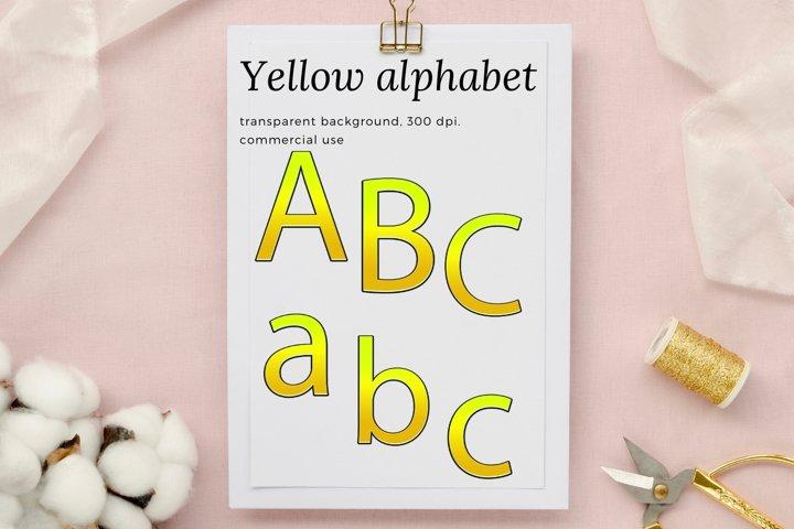 Decorative Yellow Alphabet, Yellow Typography