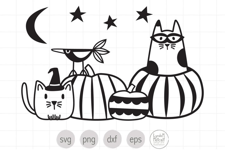 Cats in Pumpkin Patch SVG and Clipart for Halloween