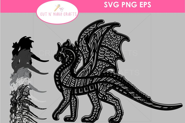 MULTILAYERED Dragon SVG, 3D FAIRYTALE Layered Mandala SVG