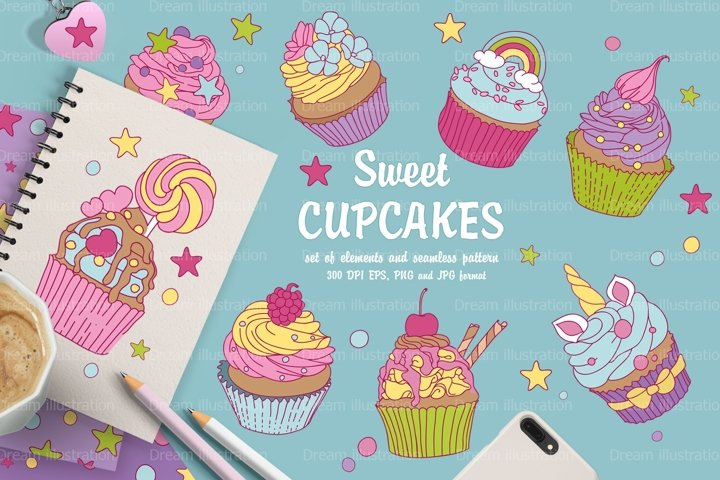 Collection of sweet cupcakes and a set of elements