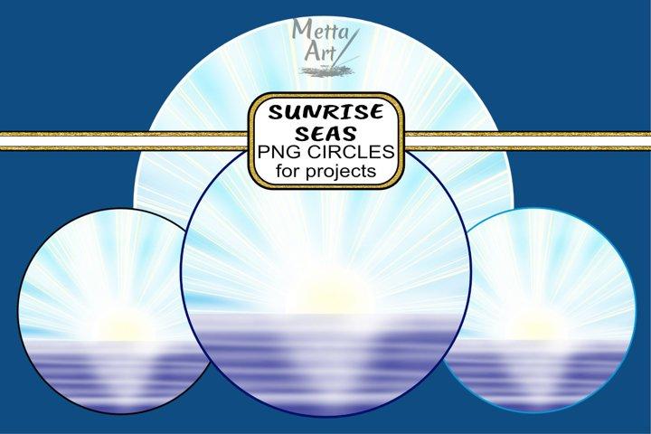 Sunrise Seas - Round - 4 images different colour borders