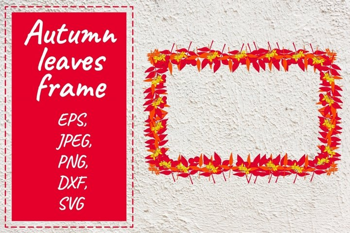 Autumn vector leaves frame. Beautiful clipart.