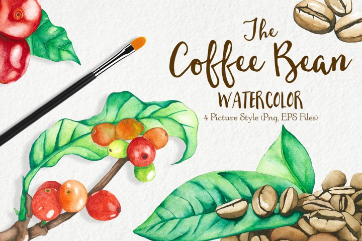 Watercolor Coffee Bean