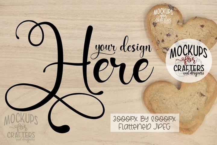 WOOD BOARD MOCK-UP, heart shaped cookies