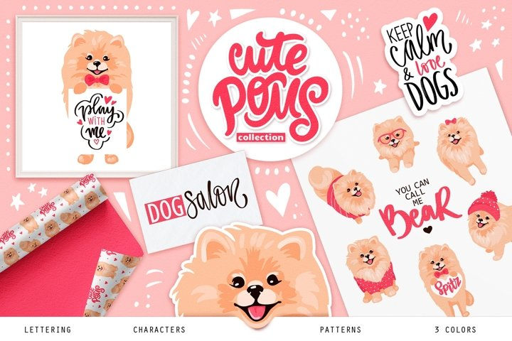 Pomeranian spitz, cute dogs illustrations. Lettering quotes.