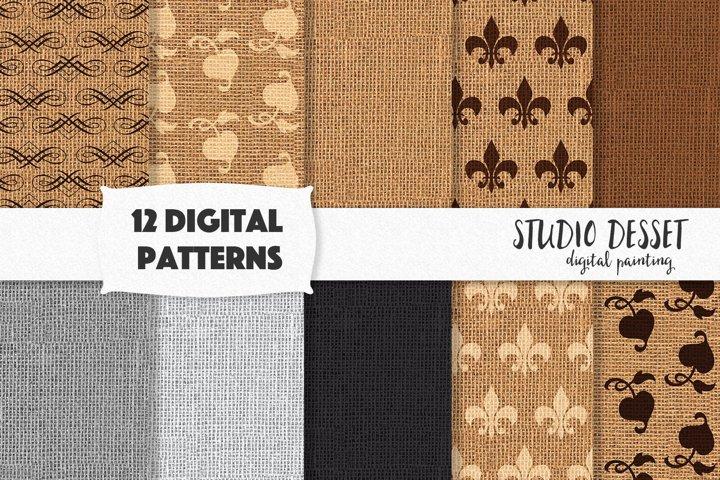 Burlap Digital Papers, Linen Patterns