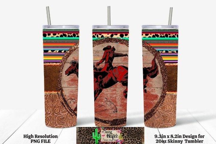 20oz Skinny Tumbler Western Cowboy Dye Sublimation Straight