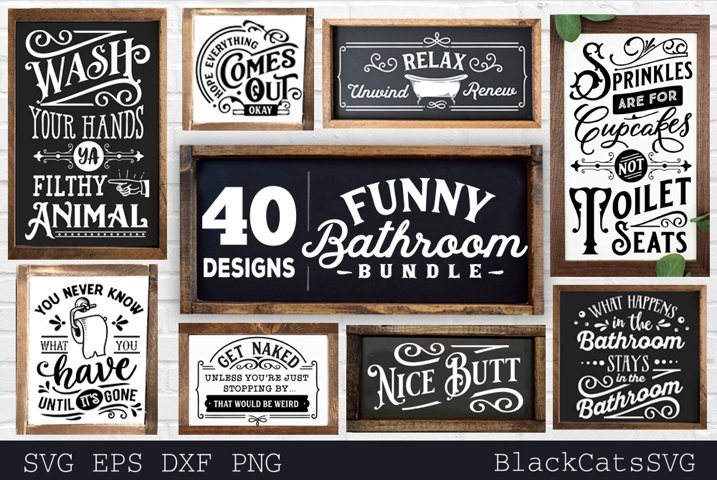 Funny Bathroom Bundle SVG 40 designs vol 1