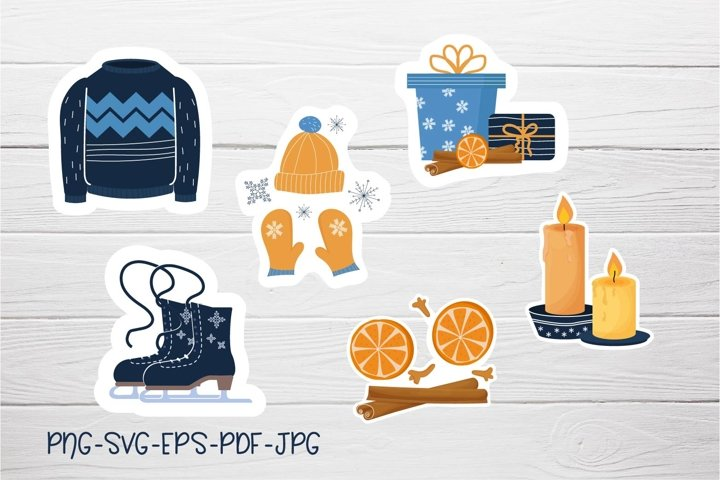 Printable Sticker collection Hygge Winter PNG, SVG, PDF example 3