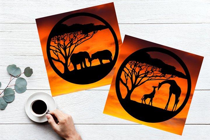 Giraffes and Elephants Paper Cut Design SVG PNG PDF JPEG