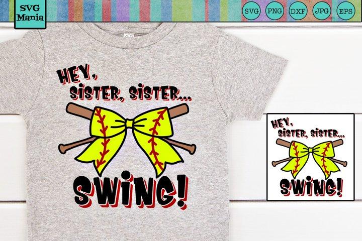 Softball Sister SVG File, Hey Batter SVG, Funny Softball SVG