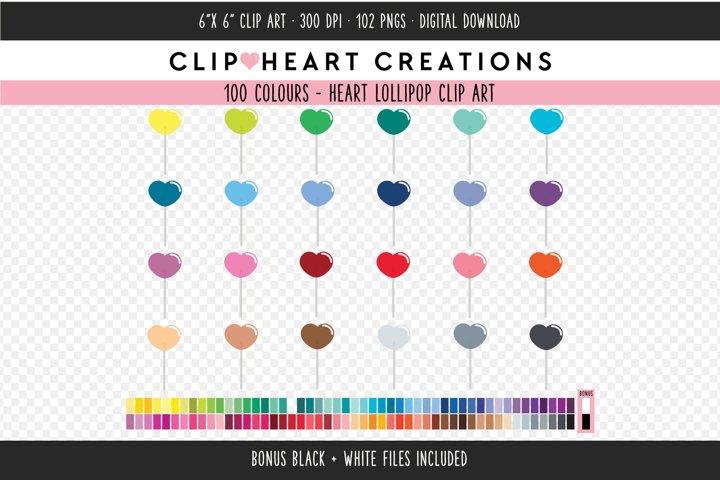 Heart Lollipop Clipart - 100 Colours