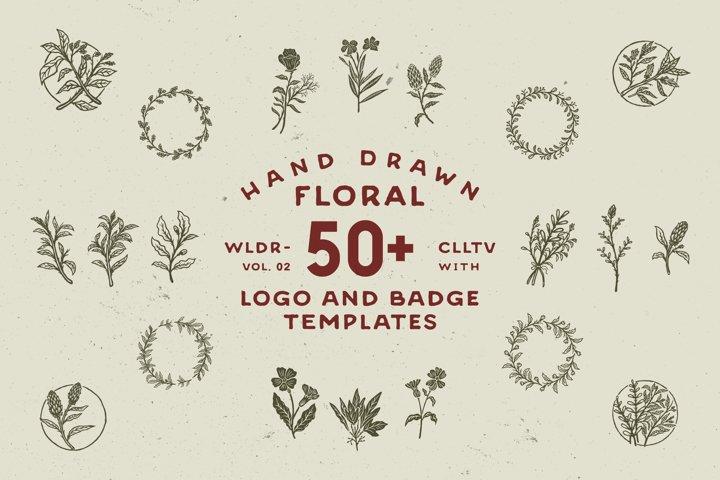 50 Hand Drawn Floral Logo & Badges