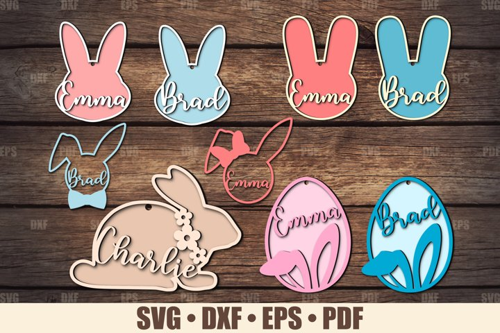 Easter Basket Tags SVG Glowforge Ready, Easter Bunny SVG