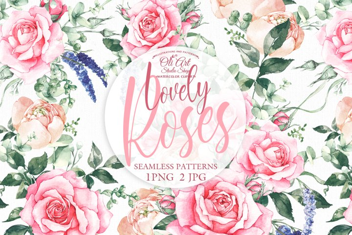 Seamless patterns with pink rose flowers