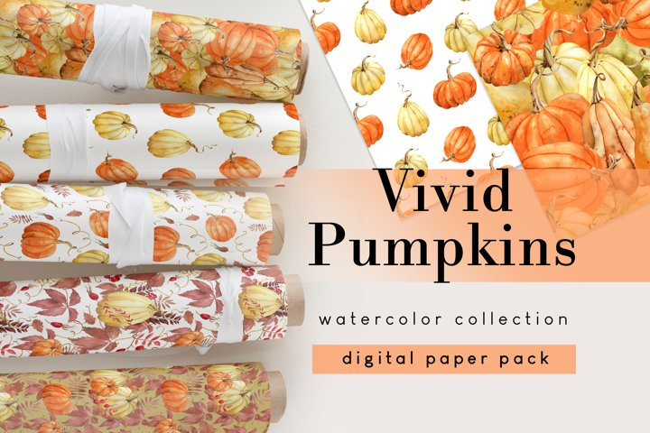 Fall Digital Papers, Autumn Seamless Patterns and border
