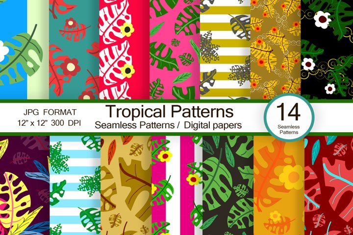 Tropical pattern, scrapbook paper, trendy digital patterns