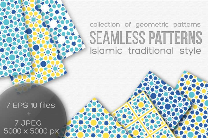 Set of seamless islamic patterns