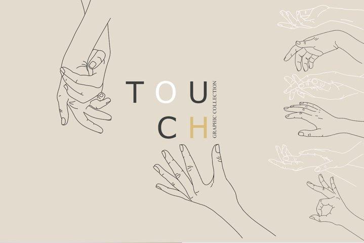 Touch. Line art hands