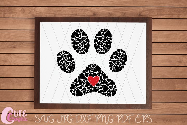 Paw Hearts Print SVG Cutting File Crafter Animal Love Dog
