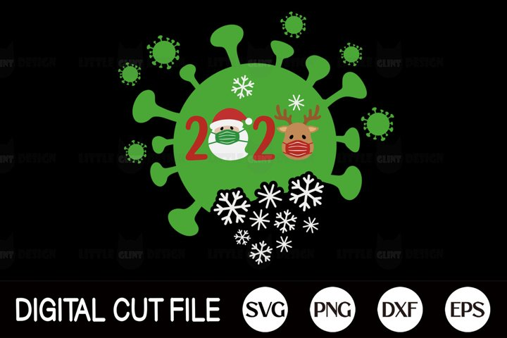 2020, Covid Christmas SVG, Pandemic Mask PNG, Holiday DXF