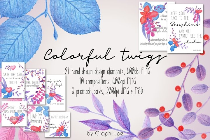 Colorful Twigs - Hand-drawn Illustration Kit