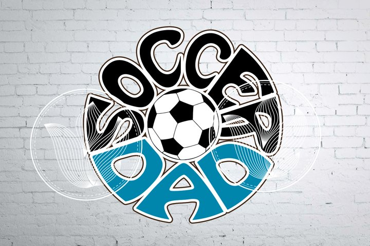 Digital Soccer dad Word Art with Soccer ball, png, eps, svg
